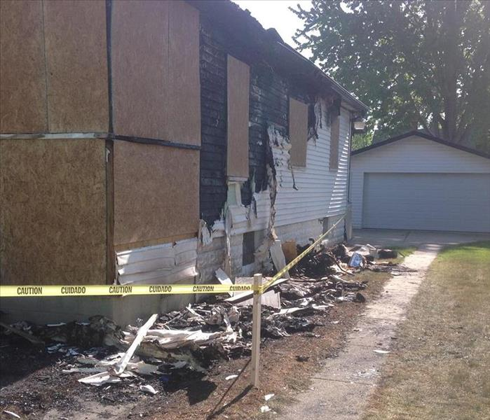 Boarding up homes after fires